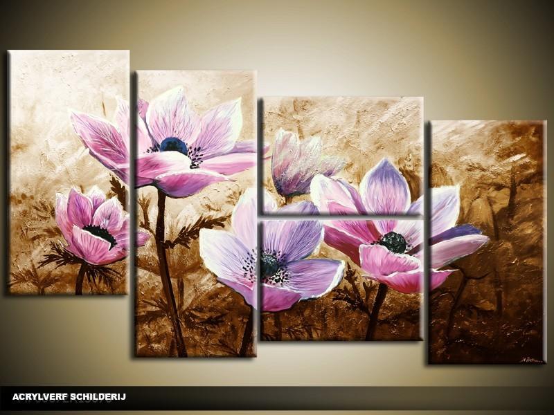 Acryl Schilderij Woonkamer | Paars, Bruin | 130x70cm 5Luik Handgeschilderd