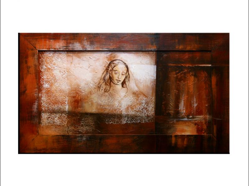 OP VOORRAAD Acrylverf schilderij houten lijst - meegeschilderd   Vrouw   118x78cm  