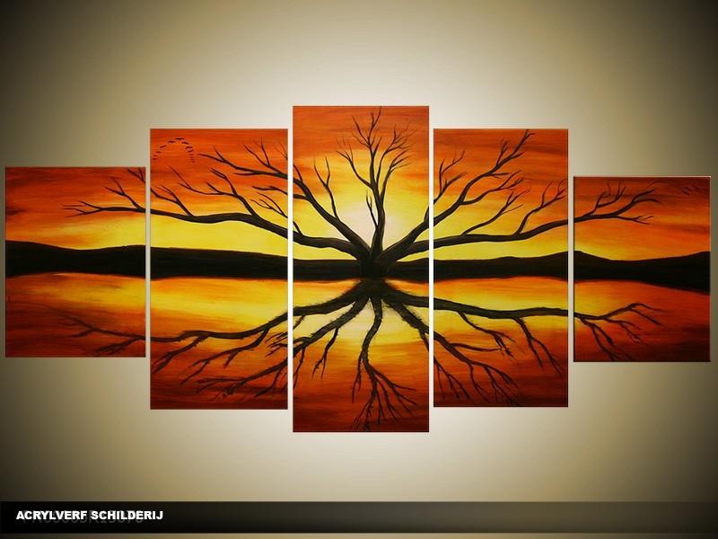 Acryl Schilderij Natuur | Bruin, Zwart | 150x70cm 5Luik Handgeschilderd