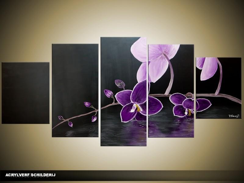 Acryl Schilderij Orchidee | Paars, Zwart | 150x70cm 5Luik Handgeschilderd