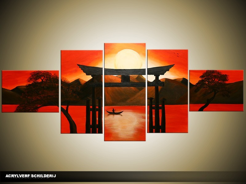 Acryl Schilderij Zonnebloem | Rood, Zwart, Oranje | 150x70cm 5Luik Handgeschilderd