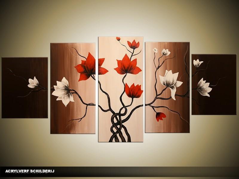 Acryl Schilderij Magnolia | Rood, Bruin, Crème | 150x70cm 5Luik Handgeschilderd