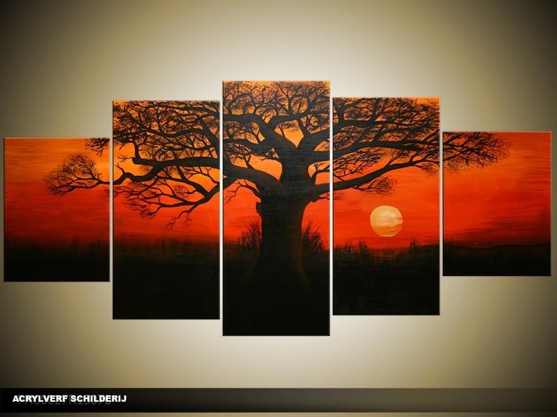 Acryl Schilderij Natuur | Rood, Zwart | 150x70cm 5Luik Handgeschilderd