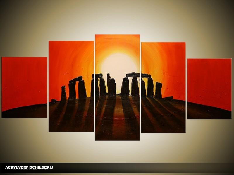 Acryl Schilderij Zonsondergang | Rood, Oranje, Zwart | 150x70cm 5Luik Handgeschilderd