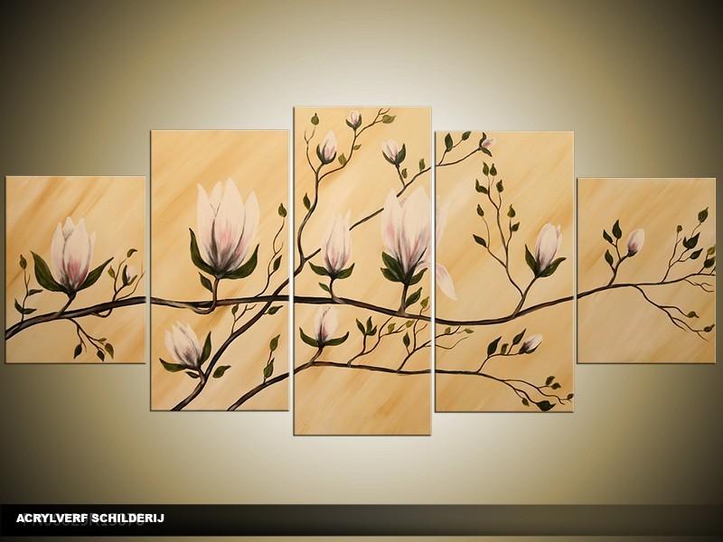 Acryl Schilderij Magnolia | Crème | 150x70cm 5Luik Handgeschilderd