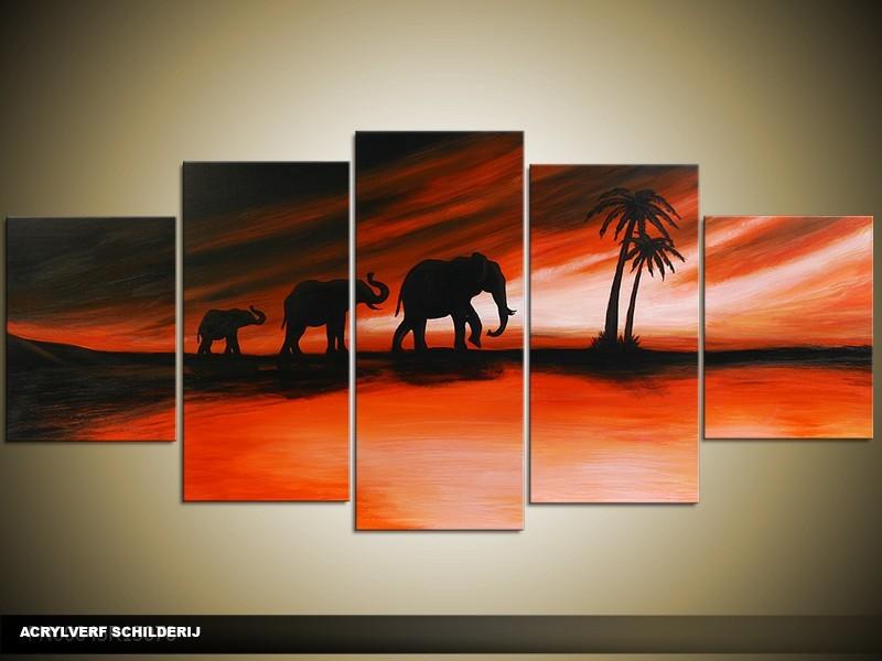 Acryl Schilderij Afrika | Rood, Zwart | 150x70cm 5Luik Handgeschilderd