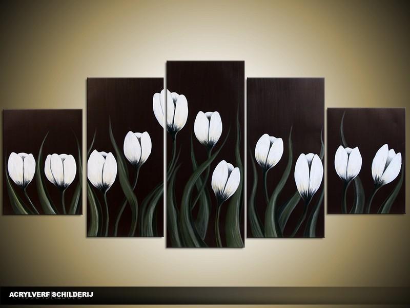 Acryl Schilderij Tulp | Wit, Zwart, Bruin | 150x70cm 5Luik Handgeschilderd