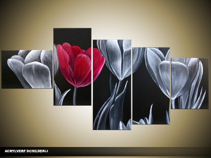 Acryl Schilderij Tulp | Zwart, Grijs, Roze | 160x70cm 5Luik Handgeschilderd