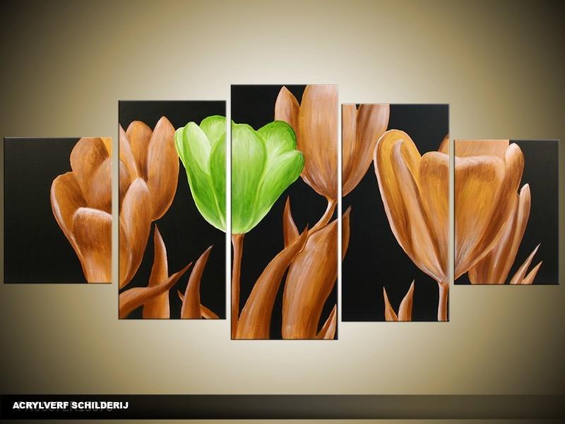 Acryl Schilderij Tulp | Groen, Goud, Zwart | 150x70cm 5Luik Handgeschilderd