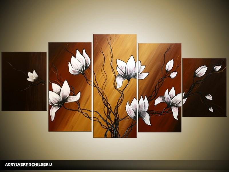 Acryl Schilderij Magnolia | Bruin, Wit | 150x70cm 5Luik Handgeschilderd