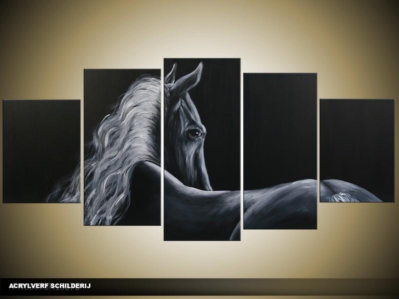 Acryl Schilderij Paard | Grijs, Zwart | 150x70cm 5Luik Handgeschilderd