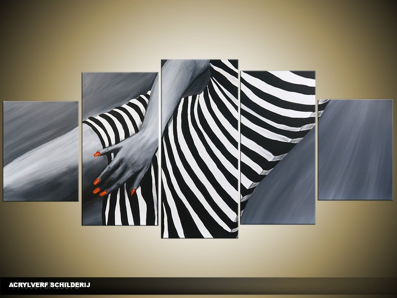 Acryl Schilderij Kunst, Sexy | Grijs, Zwart, Rood | 150x70cm 5Luik Handgeschilderd