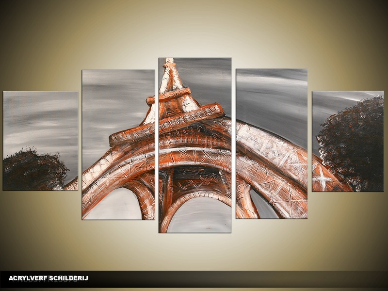 Acryl Schilderij Eiffeltoren | Rood, Oranje, Grijs | 150x70cm 5Luik Handgeschilderd