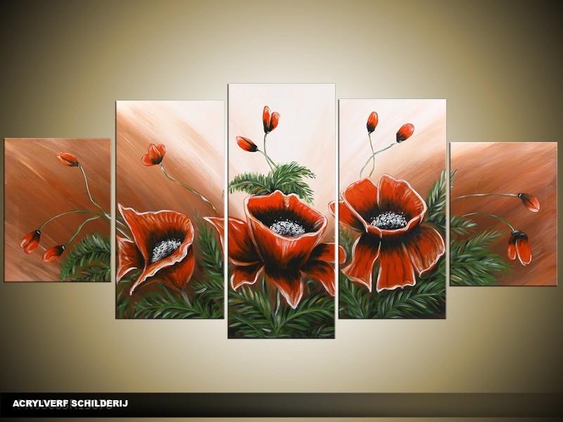 Acryl Schilderij Klaproos | Rood, Groen, Bruin | 150x70cm 5Luik Handgeschilderd