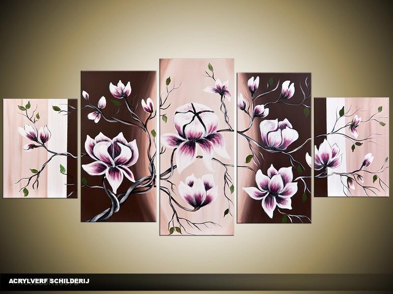 Acryl Schilderij Magnolia | Crème, Paars, Bruin | 150x70cm 5Luik Handgeschilderd