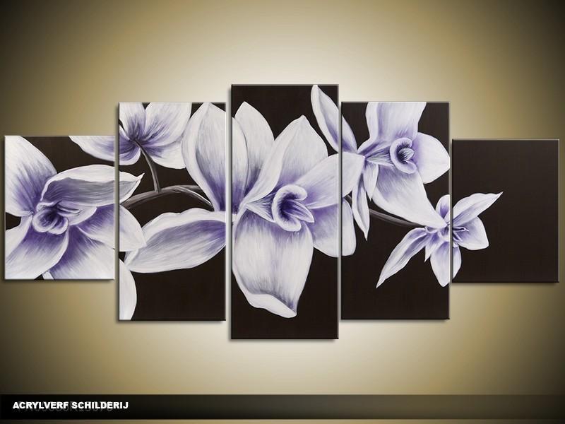 Acryl Schilderij Modern | Paars, Blauw, Zwart | 150x70cm 5Luik Handgeschilderd