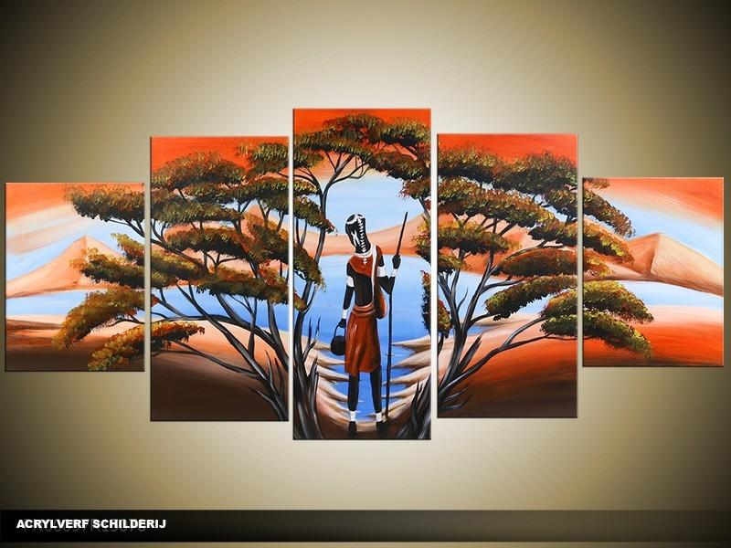 Acryl Schilderij Afrika | Blauw, Oranje, Bruin | 150x70cm 5Luik Handgeschilderd