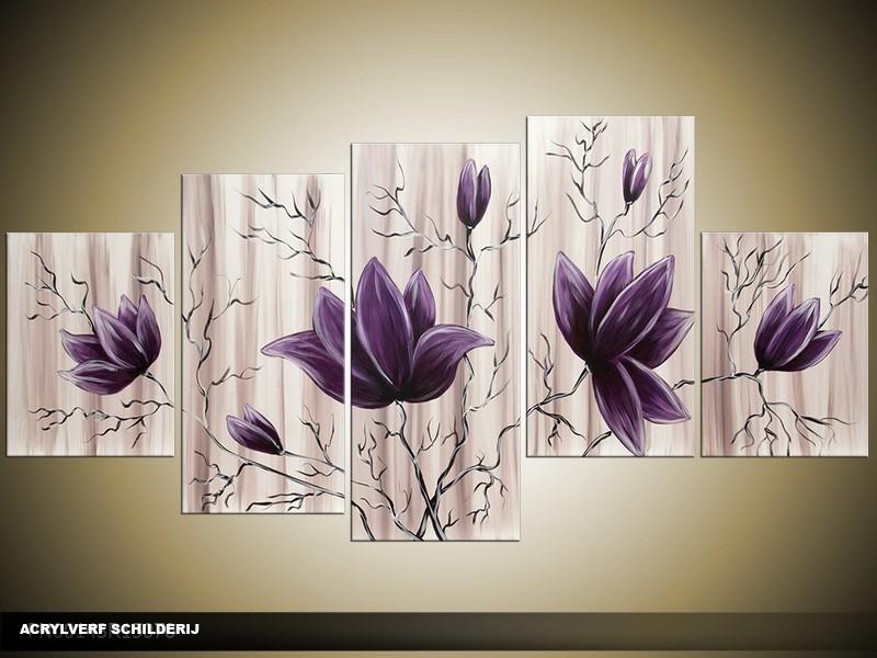 Acryl Schilderij Magnolia | Wit, Crème | 150x70cm 5Luik Handgeschilderd