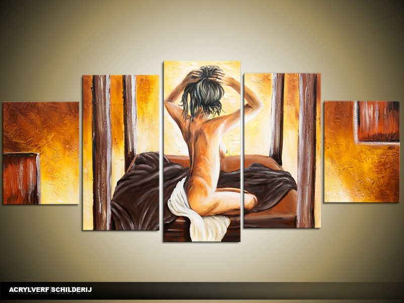 Acryl Schilderij Slaapkamer | Bruin, Geel | 150x70cm 5Luik Handgeschilderd