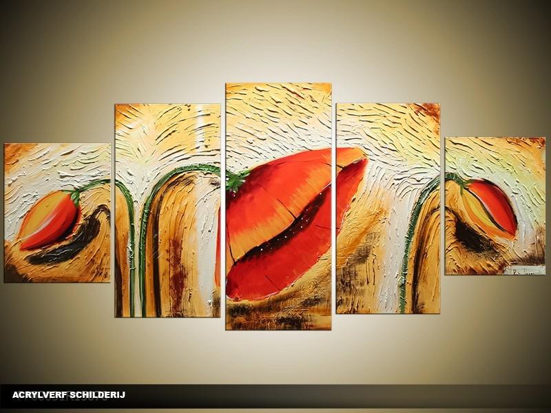 Acryl Schilderij Klaproos | Oranje, Crème | 150x70cm 5Luik Handgeschilderd