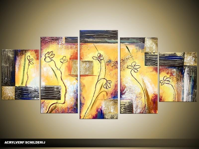 Acryl Schilderij Modern | Geel, Grijs | 150x70cm 5Luik Handgeschilderd