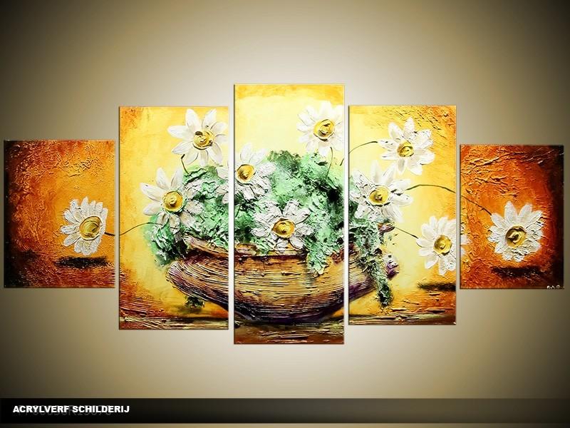 Acryl Schilderij Vaas | Geel, Oranje, Groen | 150x70cm 5Luik Handgeschilderd