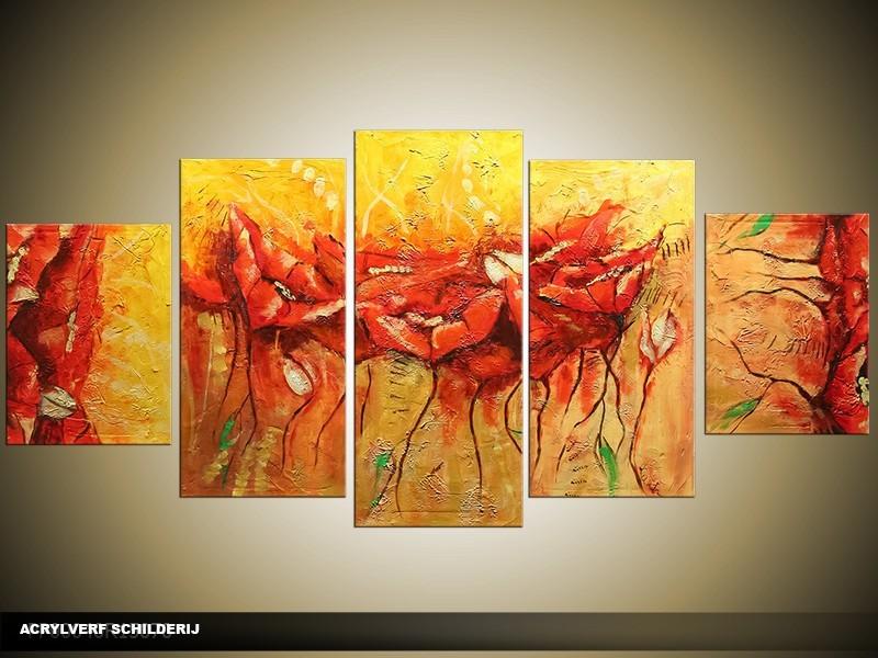 Acryl Schilderij Modern | Rood, Geel, Oranje | 150x70cm 5Luik Handgeschilderd