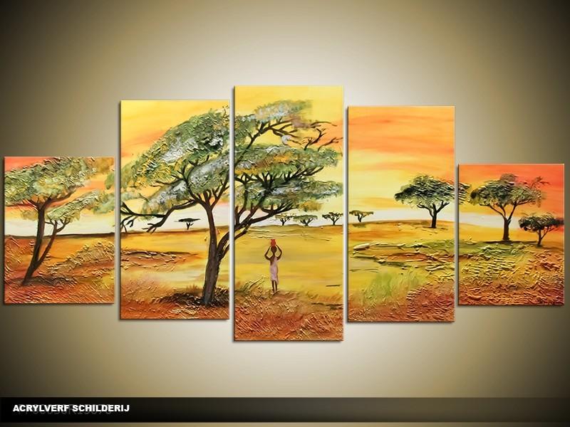 Acryl Schilderij Natuur | Geel, Oranje, Bruin | 150x70cm 5Luik Handgeschilderd