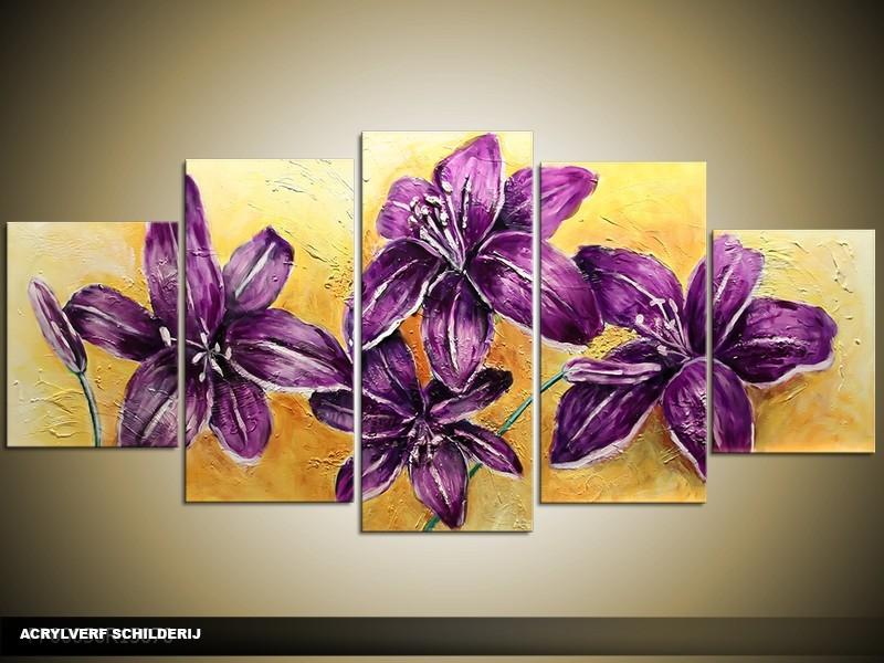 Acryl Schilderij Klassiek | Paars, Geel | 150x70cm 5Luik Handgeschilderd