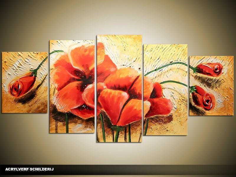 Acryl Schilderij Klaproos | Oranje, Rood, Geel | 150x70cm 5Luik Handgeschilderd
