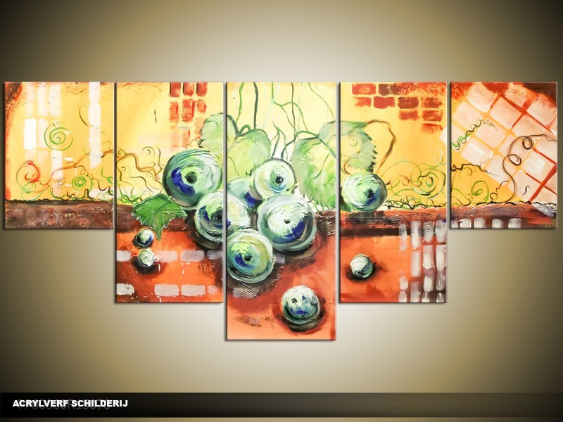 Acryl Schilderij Druiven | Groen, Geel, Oranje | 150x70cm 5Luik Handgeschilderd