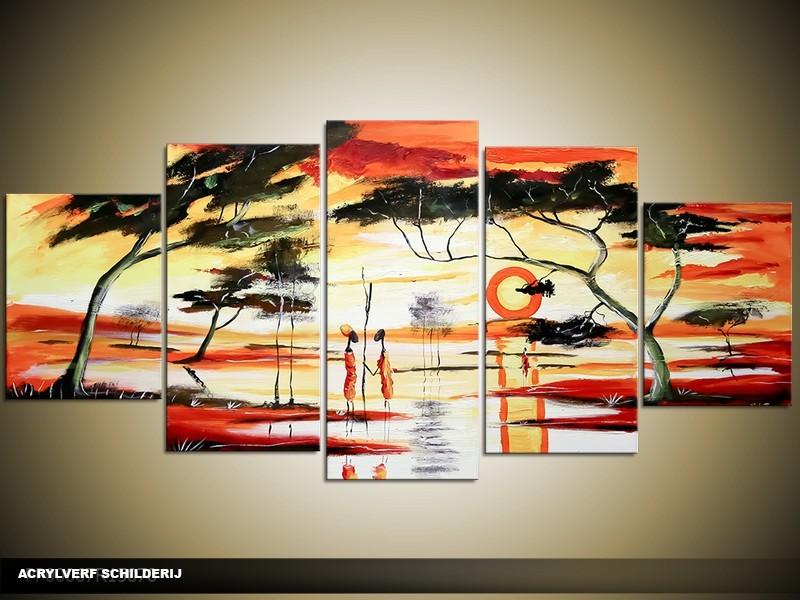 Acryl Schilderij Natuur | Geel, Rood | 150x70cm 5Luik Handgeschilderd