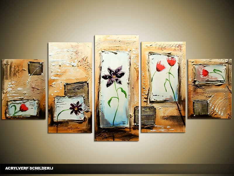 Acryl Schilderij Modern | Crème, Bruin, Blauw | 150x70cm 5Luik Handgeschilderd