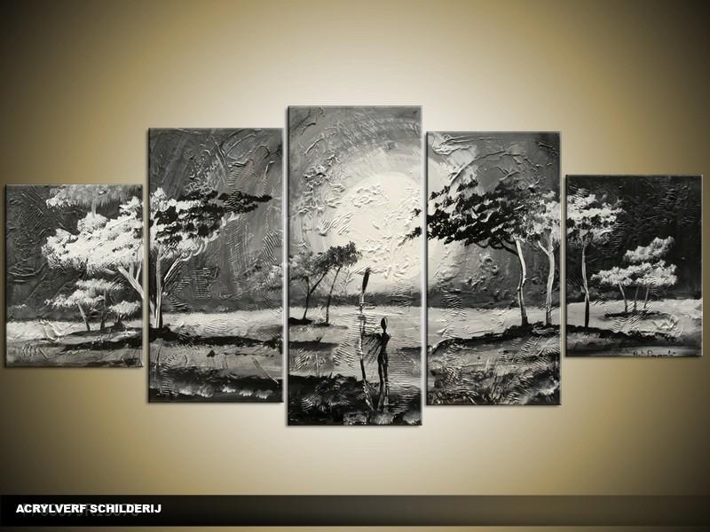 Acryl Schilderij Natuur | Zwart, Grijs | 150x70cm 5Luik Handgeschilderd