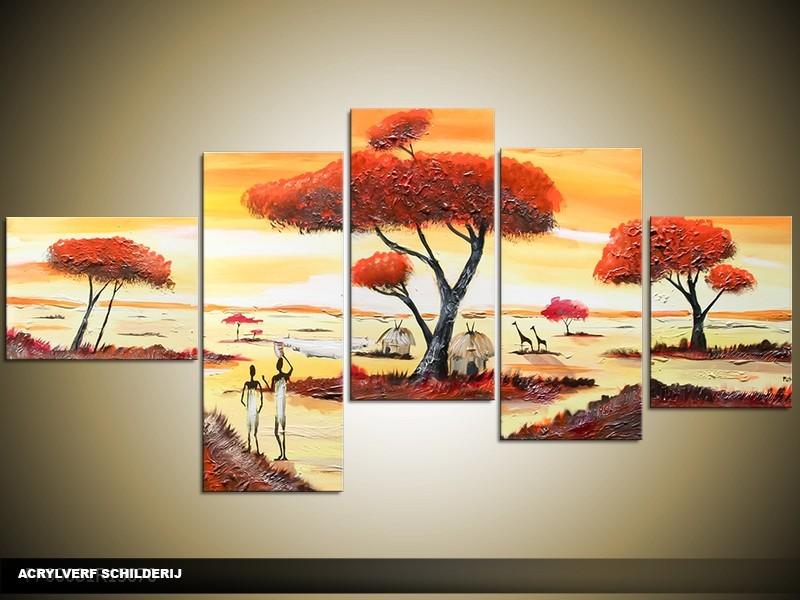 Acryl Schilderij Natuur | Geel, Oranje | 160x70cm 5Luik Handgeschilderd