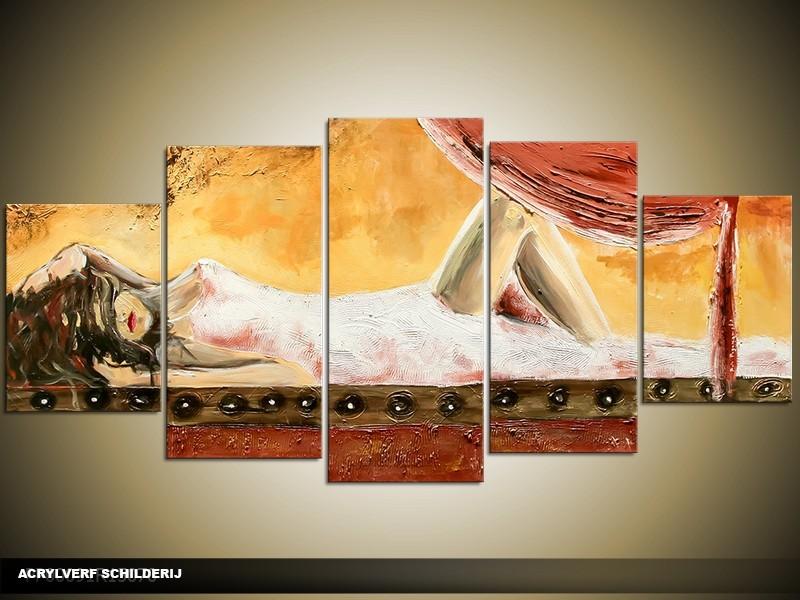 Acryl Schilderij Kunst, Sexy | Crème, Bruin | 150x70cm 5Luik Handgeschilderd