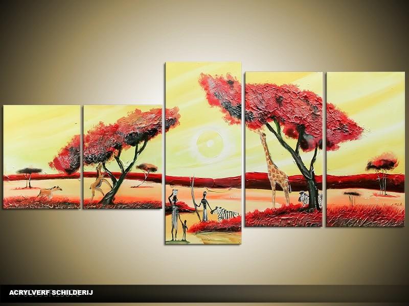Acryl Schilderij Natuur | Crème, Rood, Geel | 150x70cm 5Luik Handgeschilderd