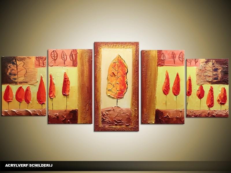 Acryl Schilderij Modern | Bruin, Rood, Geel | 150x70cm 5Luik Handgeschilderd