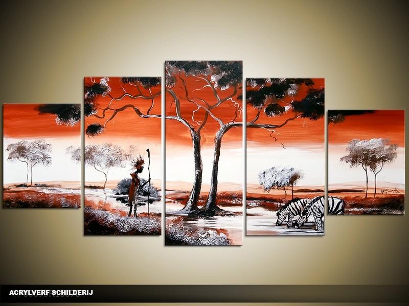 Acryl Schilderij Natuur | Rood, Zwart, Wit | 150x70cm 5Luik Handgeschilderd