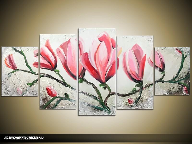 Acryl Schilderij Magnolia | Roze, Grijs | 150x70cm 5Luik Handgeschilderd