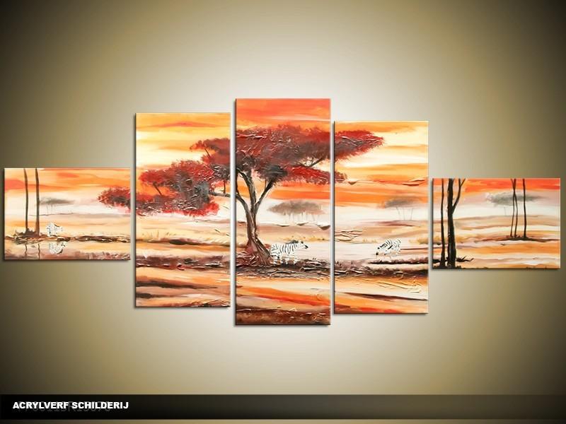 Acryl Schilderij Natuur | Oranje, Crème, Bruin | 170x70cm 5Luik Handgeschilderd