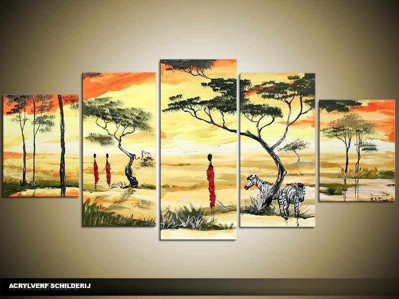 Acryl Schilderij Natuur | Crème, Oranje | 150x70cm 5Luik Handgeschilderd