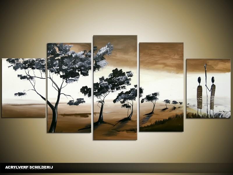 Acryl Schilderij Natuur | Bruin, Wit | 150x70cm 5Luik Handgeschilderd