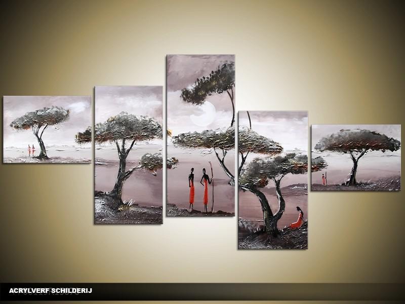 Acryl Schilderij Natuur | Grijs, Rood | 170x70cm 5Luik Handgeschilderd