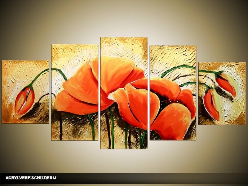 Acryl Schilderij Klaproos | Rood, Geel | 150x70cm 5Luik Handgeschilderd