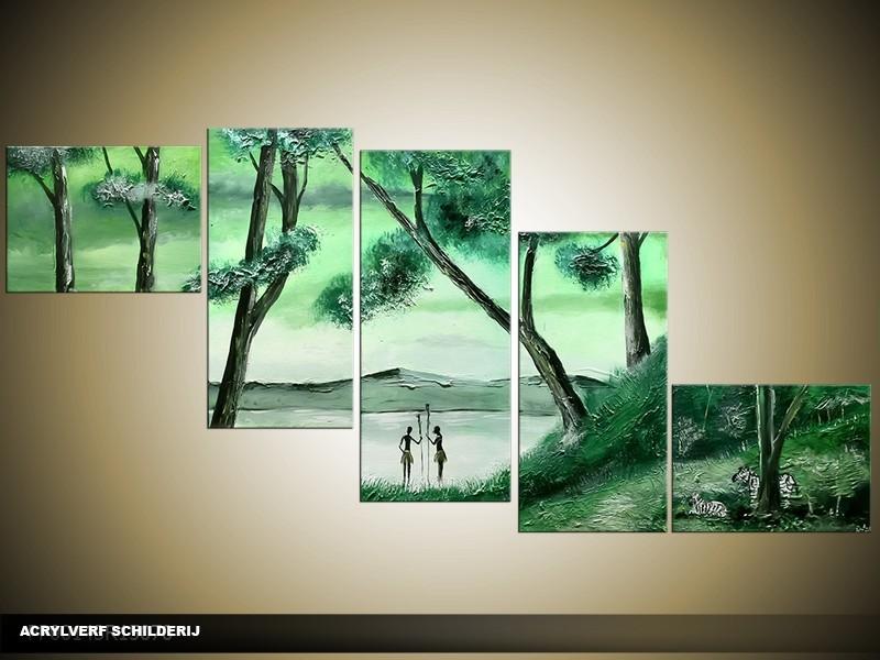 Acryl Schilderij Natuur | Groen | 170x70cm 5Luik Handgeschilderd