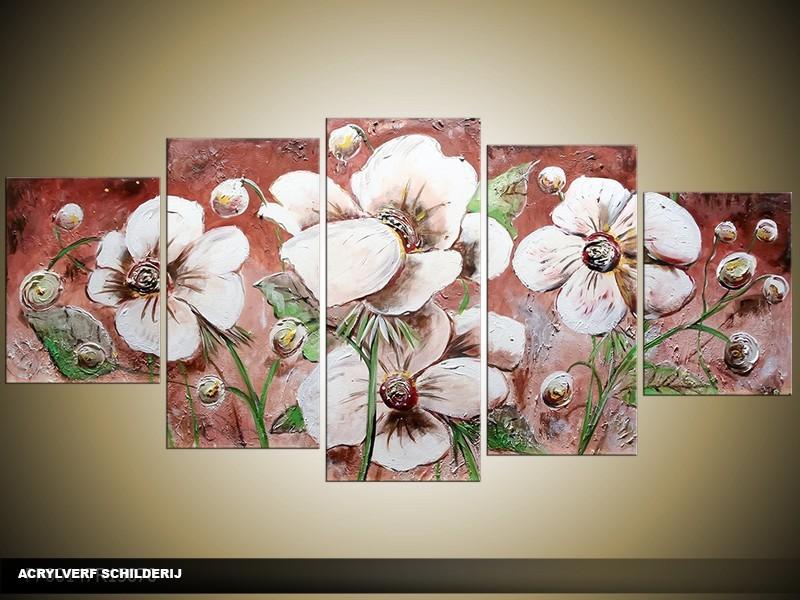 Acryl Schilderij Modern | Wit, Bruin, Groen | 150x70cm 5Luik Handgeschilderd