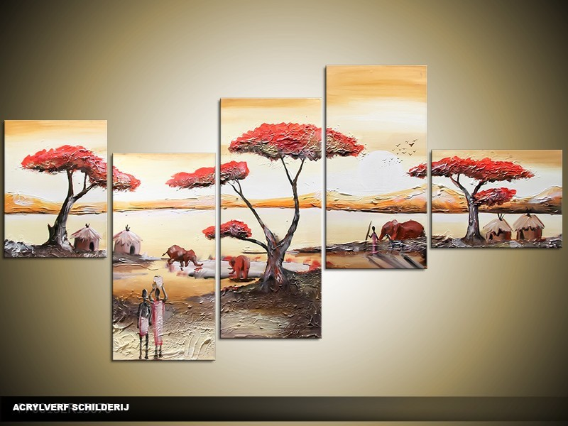 Acryl Schilderij Natuur | Rood, Crème, Bruin | 160x70cm 5Luik Handgeschilderd
