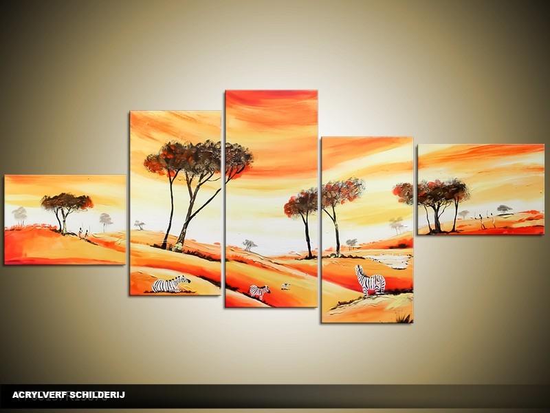 Acryl Schilderij Natuur | Oranje, Geel | 170x70cm 5Luik Handgeschilderd