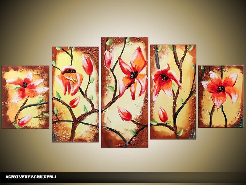 Acryl Schilderij Magnolia | Rood, Geel, Bruin | 150x70cm 5Luik Handgeschilderd